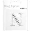 """Rhinestone Silver Crystal Letter """"N"""" - 1.4"""" X 1.5"""""""