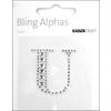 """Rhinestone Silver Crystal Letter """"U"""" - 1.4"""" X 1.4"""""""