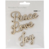 Wood Flourishes-Love, Peace, Joy Words