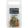 Mini Painted Metal Paper Fasteners 100/Pkg-Metalli