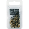 Mini Painted Metal Paper Fasteners 100/Pkg-Black -