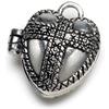 Prayer Box Metal Charm 1/Pkg-Antique Silver Heart