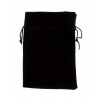 Large 7in x 5in Plain Black Velour Pouch With Drawstring